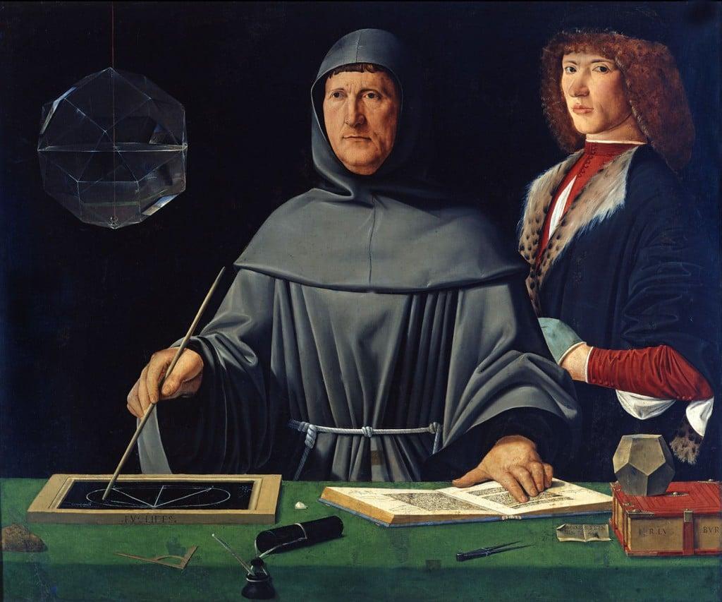 Luca Pacioli, le père de la comptabilité en partie double avec son élève  (1495), attribué à Jacopo de' Barbari, musée Capodimonte de Naples