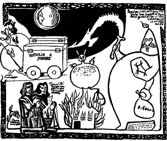 Le voiturin à phynance d'Ubu déssiné par Alfred Jarry