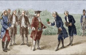 parmentier-presentant-une-pomme-de-terre-au-roi-louis-xvi-lors-de-sa-visite-dans-la-plaine-des-sablons-(gravure-americaine-du-xix-e-siecle)-the-granger-collection-nyc-rue-des-archives